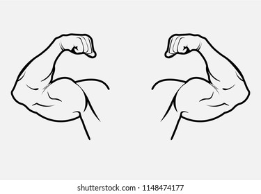 Hand with muscles on a white background. Vector illustration.