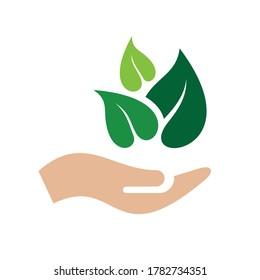 Hand Nature Logo Design Template