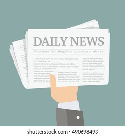 Hand with newspaper. Vector Illustration.