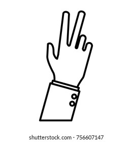 Hand number three sign