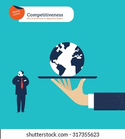 Hand offering a businessman the whole world he isn't  interested. Vector illustration Eps10 file. Global colors. Text and Texture in separate layers.