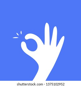 Hand OK sign, fingers hands shows Its OK. everything is all right or great, all done sign. Communication gestures, satisfaction concept. Flat vector on colorful background for website banner