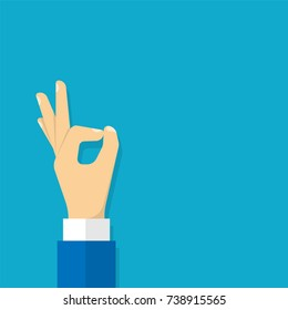 Hand OK  sign. Vector
