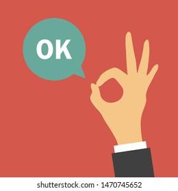Hand OK sign. Vector illustration. Flat design for business financial marketing banking advertising web concept cartoon illustration.