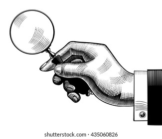 Hand with an old magnifying glass. Retro style search sign and icon. Vintage engraving stylized drawing. Vector illustration