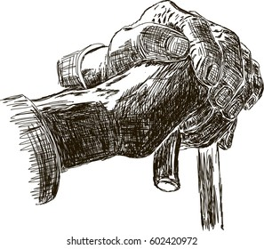 hand of a old man holding a cane. vector. sketch