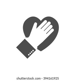 Hand on heart black icon on white background. Logo. Flat design. Pledge. Vector illustration. Allegiance icon.
