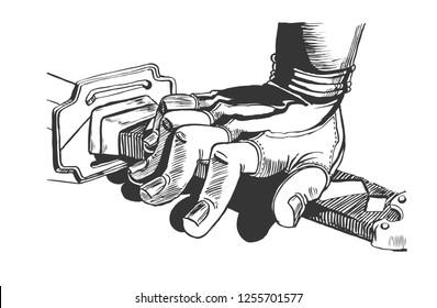 The hand on the samurai sword, the katana. Graphic sketch
