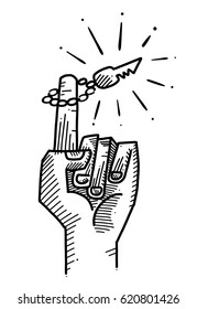 Hand with one finger pointing upwards with a key