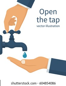 Hand open for drinking tap water. Drink a falling drop. Liquid in the palm. Vector illustration flat design. Isolated on white background. Turn on and turn off faucet. Saving water.