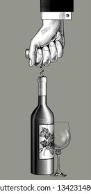 Hand open a wine bottle with a corkscrew and a wineglass. Vintage engraving stylized drawing. Vector illustration