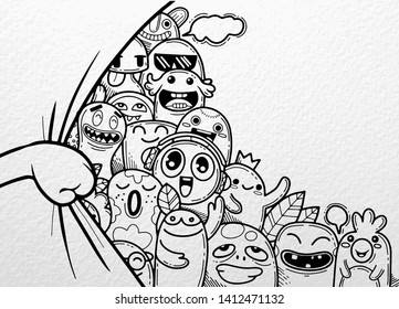 Hand opening  curtain, With funny monster group behind ,illustration of Monsters and cute alien friendly  cool  cute hand-drawn monsters collection