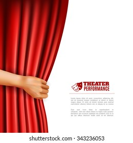 Hand opening red theatre curtain with performance symbols realistic vector illustration
