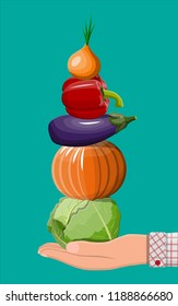 Hand with organic products. Diet, nutrition, fitness and weight loss. Vitamins from vegetables. Cabbage, pumpkin, eggplant, pepper and onion. Veggie food. Flat vector illustration