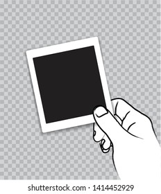 Hand Outline Brush Stroke Style Holding Retro Paper Photo Frame, Transparent Background.