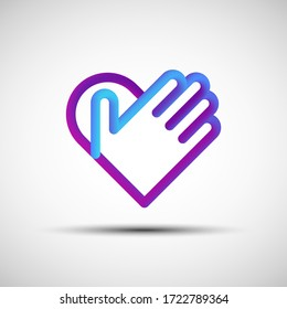 Hand over heart blended line icon. Vector illustration of liquid 3d abstract heart with hand icon, logo, sign or emblem over white background