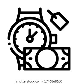 hand over wristwatch for money to pawnshop icon vector. hand over wristwatch for money to pawnshop sign. isolated contour symbol illustration