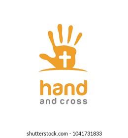 Hand Paint Cross Baptist Kids Christian Catholic Church Jesus logo design vector