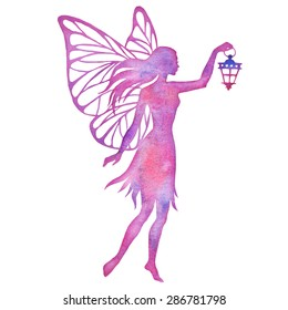 Hand paint fairy with lantern watercolor vector silhouette illustration