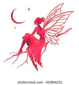 Hand paint fairy looking at the moon, watercolor vector silhouette illustration, isolated on a white background.