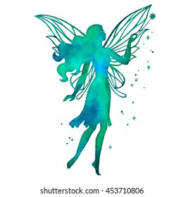 Hand paint fairy with magic wand,vector watercolor silhouette illustration isolated on a white background.