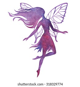 Hand paint fairy watercolor vector silhouette illustration