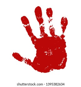 Hand paint print, isolated white background. Red human palm and fingers. Abstract art design, symbol identity people. Silhouette child, kid, people handprint. Grunge texture Vector illustration