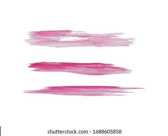 Hand Paint Smears Collection. Brush Strokes Overlay. Pink Strokes of Dry Paints. Brush Stroke Template. Lipstick Strokes Original Vector Set.