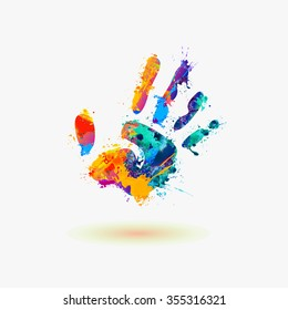 Hand of paint stains. Rainbow splash