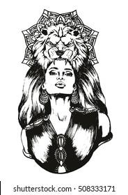 Hand paint vector zodiac lion