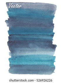 Hand painted abstract watercolor background. Blue, turquoise, grey. Striped background, gradient. Isolated background. Vector.