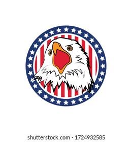 Hand Painted American Flag Eagle, Animal, National Flag vector design.