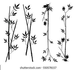 Hand painted asian traditional black ink decorative bamboo borders on white background - vector illustration