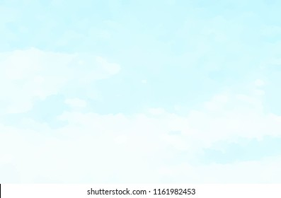 Hand painted blue sky and clouds, abstract watercolor background, vector illustration