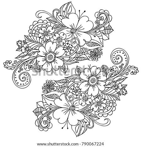 Hand Painted Decorative Flowers Doodle Coloring Stock Vektorgrafik