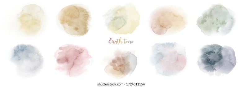 Hand painted earth tone watercolor texture set.  Stain artistic vector used as being an element in the decorative design of background, brochure, poster, card, cover, banner.