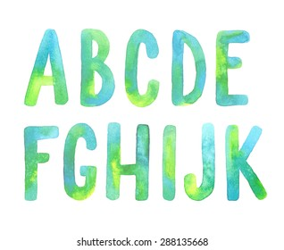 Hand painted green watercolor alphabet. Letters A-K.
