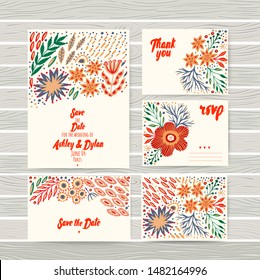Hand painted greeting cards set with folk ethnic flowers, bright ornamental plants and branches. Spring or summer flowers for invitation, wedding or banners