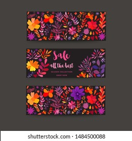 Hand painted greeting cards set with folk ethnic flowers, bright ornamental plants and branches. Horizontal banners or header. Autumn flowers for invitation, wedding or banners.