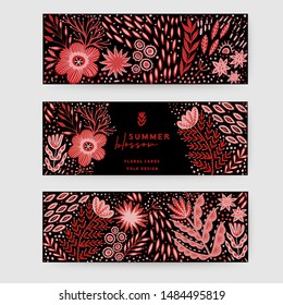 Hand painted horizontal header or banner set with folk ethnic flowers on black, red ornamental plants and branches. Spring or summer flowers for invitation, wedding or greeting cards