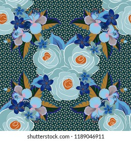 Hand painted illustration in blue, brown and gray colors. Vector rose flowers seamless pattern.