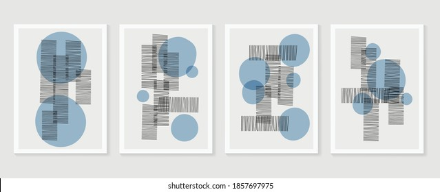 Hand painted illustrations wall arts vector. Surface pattern design. Abstract art textile design with line arts painting, Covering greetings cards, cover, print, fabrics and wall decoration.