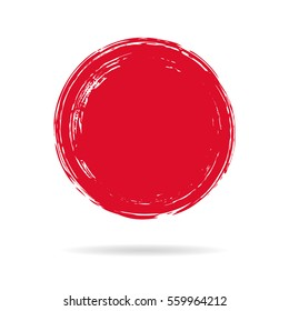 Hand painted ink blob. Red round button. Hand drawn grunge circle. Graphic design element for web, corporate identity, cards, prints etc. Vector illustration