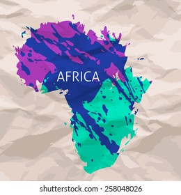 Hand painted ink watercolor grunge Africa map silhouette