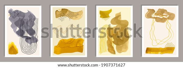 Hand painted minimalist covers vector collection. Watercolor smears shapes. 50s style frames. Cool artwork templates. Scribble elements.