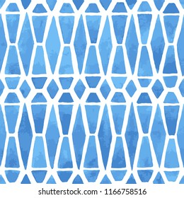 Hand painted mosaic background with geometric elements in blue. Stained glass imitation. Seamless geometric vector pattern