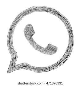 Hand painted phone app icon in a circle with an arrow. Vector illustration. Whatsapp icon handdrawn. Whatsapp logo shaded. EPS 8.