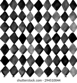 Hand painted seamless geometric watercolor pattern with rhombus. Seamless pattern can be used for pattern fills, wallpapers, web page backgrounds