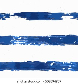 Hand painted seamless pattern with blue brush lines