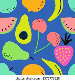 Hand painted seamless pattern with colorful fruits in blue background.